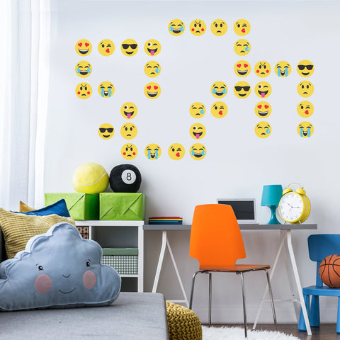 36 Emoji Fabric Wall Decals, Emoji Stickers - Wall Dressed Up