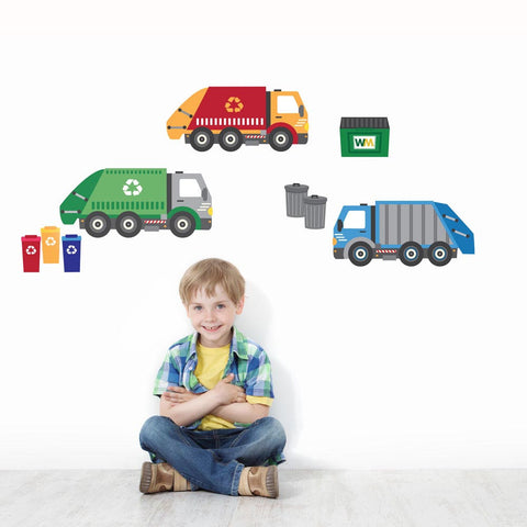 Garbage Truck and Recycling Truck Wall Decals, Peel and Stick Eco-Friendly Wall Decal Stickers - Wall Dressed Up - 1