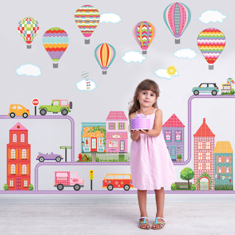Girl's Dollhouse Town Wall Decals, Hot Air Balloons, Cars, and Straight & Curved Purple Road - Wall Dressed Up