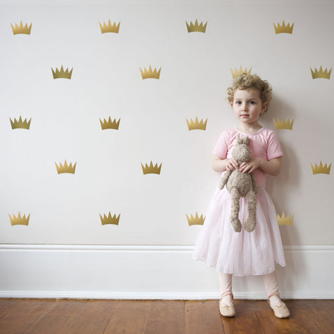 32 Gold Metallic Princess Crown Vinyl Wall Decals - Wall Dressed Up