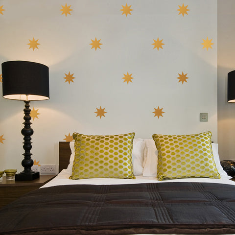 "25 Gold Metallic 4"" Eight Point Star Vinyl Wall Decals - Wall Dressed Up"