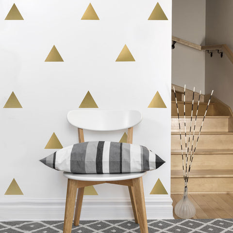 36 Large Silver or Gold Metallic Triangle Wall Decals - Wall Dressed Up