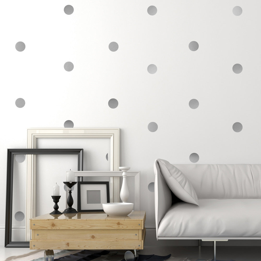 30 Silver Metallic 4 Inch Polka Dot Vinyl Wall Decals   Wall Dressed Up   1