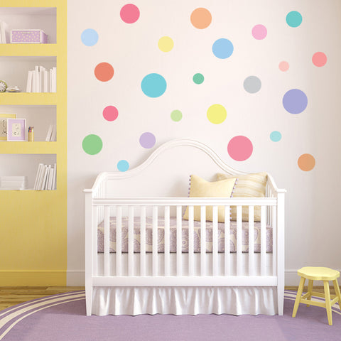 23 Multi-sized Sorbet Color Polka Dot Decals - Wall Dressed Up