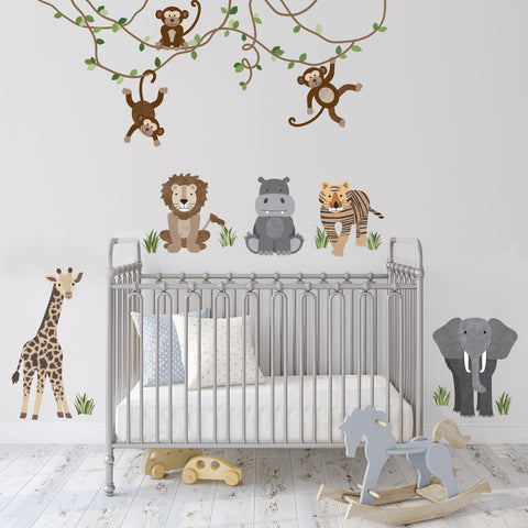 Safari Animals and Monkey Wall Decals, Jungle Animal Wall Stickers, Nursery Wall Decals, Peel and Stick Repositionable Fabric Decals - Wall Dressed Up