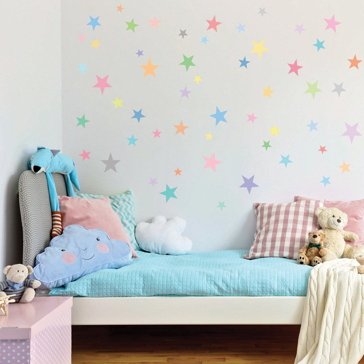 Wall decals stars pastel sorbet colors eco friendly fabric wall decals stars pastel sorbet colors eco friendly fabric removable reusable matte wall stickers amipublicfo Gallery