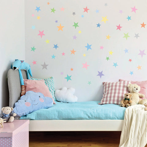 Wall Decals Stars Pastel Sorbet Colors Eco-Friendly Fabric Removable & Reusable Matte Wall Stickers