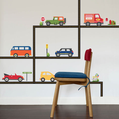 Adventure Car Wall Decals and Straight Road, Eco-Friendly Reusable Fabric Wall Stickers - Wall Dressed Up