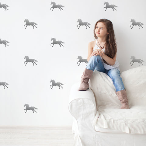 32 Silver Metallic Equestrian Horse Vinyl Wall Decals - Wall Dressed Up - 1