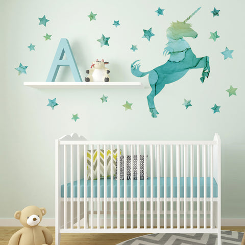 Unicorn Wall Decal, Horse Decal, Star Decals, Eco-Friendly Fabric Wall Stickers - Wall Dressed Up