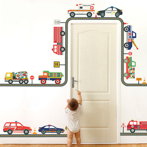 Emergency Vehicle and Truck Wall Decals with Straight and Curved Gray Road, Reusable Decals - Wall Dressed Up