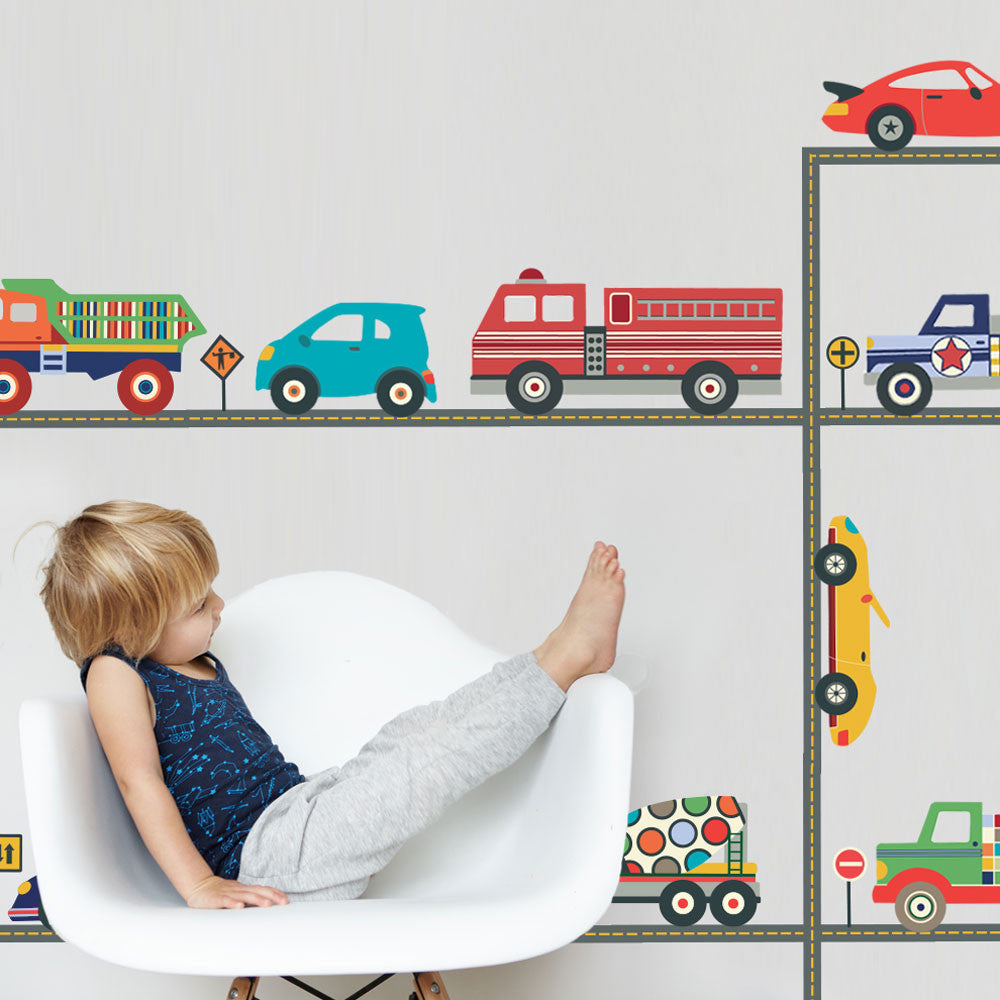Terrific trucks and cool cars wall decals straight road matte fabric decals