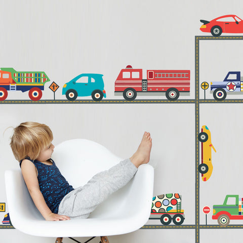 Terrific Trucks and Cool Cars Wall Decals & Straight Road, Matte, Fabric Decals, Peel and Stick, Wall Decals - Wall Dressed Up