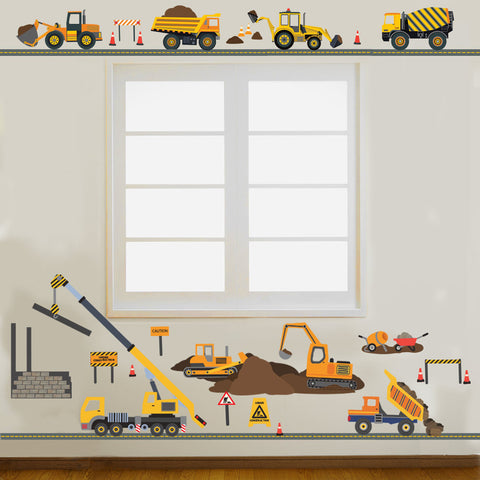 Four Construction Vehicles with 15ft Straight Gray Road and Large Construction Site Wall Decals - Wall Dressed Up