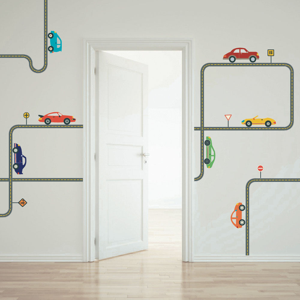 Cool Cars Wall Decals With Gray Road Curved And Straight  Wall - Wall decals cars