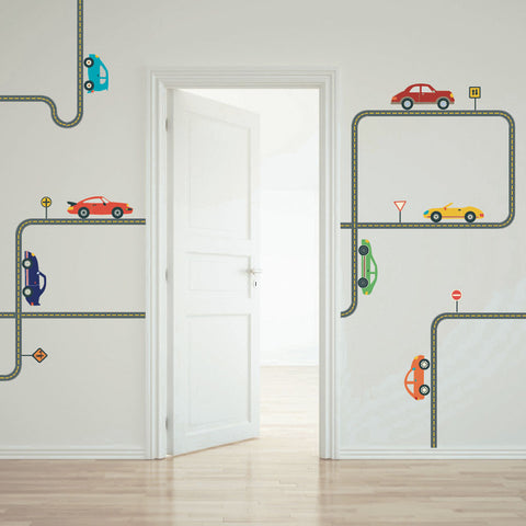 Cool Cars Wall Decals with Gray Road Curved and Straight, Eco-Friendly Wall Stickers - Wall Dressed Up