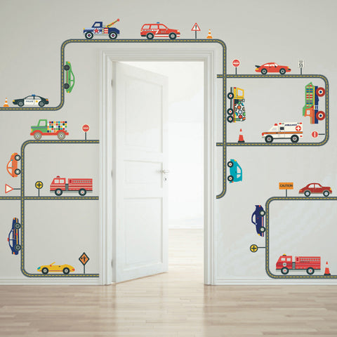 Cars, Trucks & EMS Vehicles Wall Decals plus Gray Road Curved and Straight - Wall Dressed Up - 1