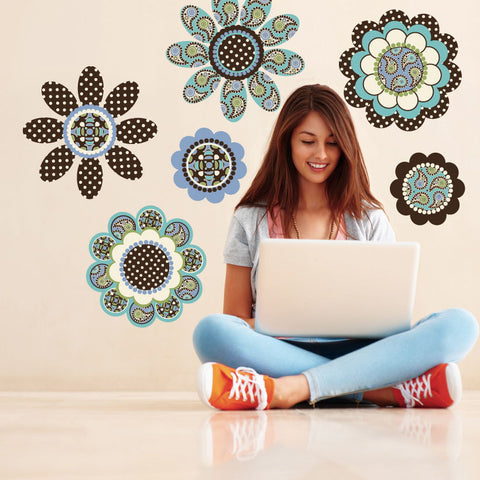 Big Flower Wall Decals Turquoise, Blue & Brown Flower Power Wall Decals - Wall Dressed Up