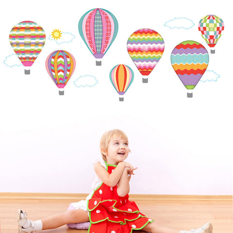 Hot Air Balloons and Clouds Wall Decals, Purples & Pinks Eco-Friendly Removable Wall Stickers, Col 3 - Wall Dressed Up