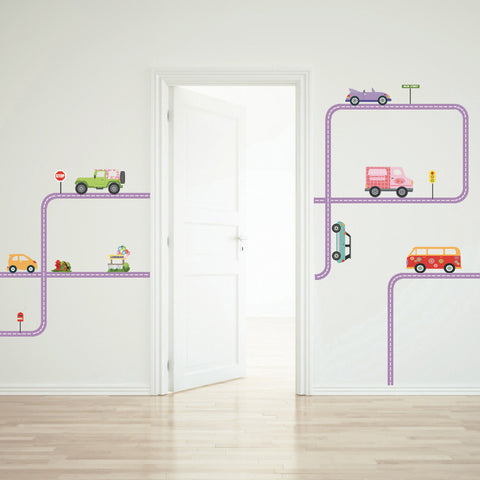 Colorful Girls Adventure Cars Wall Decals with Road Purple Straight and Curved - Wall Dressed Up - 1