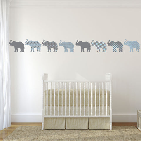 Eight Patterned Gray And Baby Blue Elephant Wall Decals Wall - Elephant wall decals