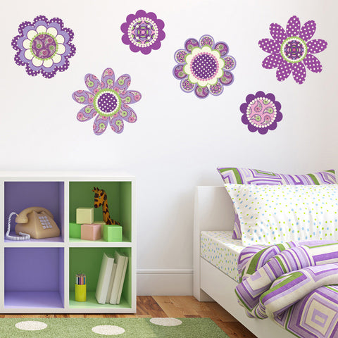 Purple Flower Power Wall Decals - Wall Dressed Up