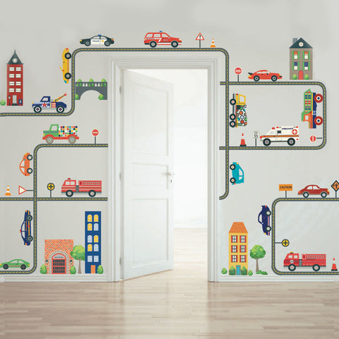 Busy Transportation Town Wall Decals, Cars, Trucks, EMS Vehicles plus Gray Road Curved and Straight - Wall Dressed Up