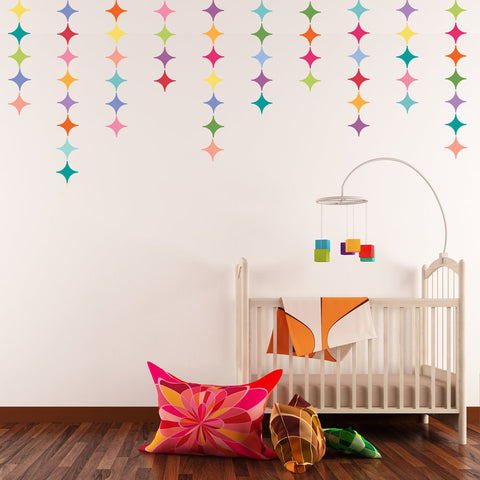 28 Multicolor Modern Diamond Wall Decals - Wall Dressed Up - 1