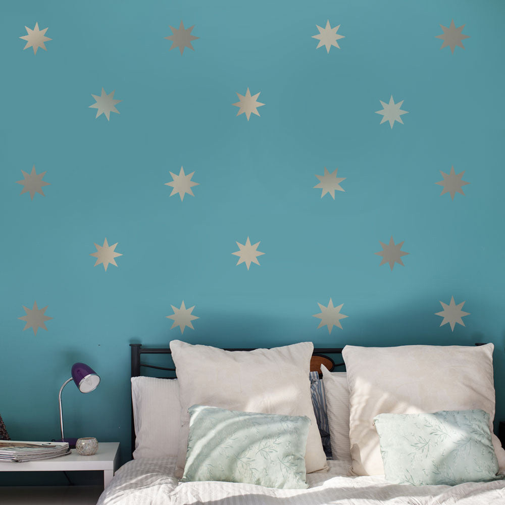Wall dressed up wall decals fabric reusable removable wall stickers 25 silver metallic 4 eight point star vinyl wall decals wall dressed up gumiabroncs Image collections