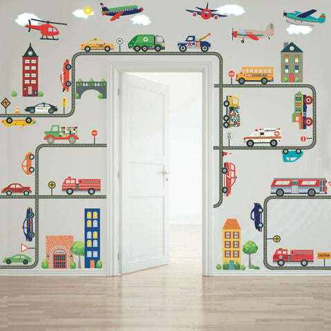 Transportation Town Wall Decals, EMS, Cars, Buses, Trucks, Helicopter, Airplanes & Road - Wall Dressed Up