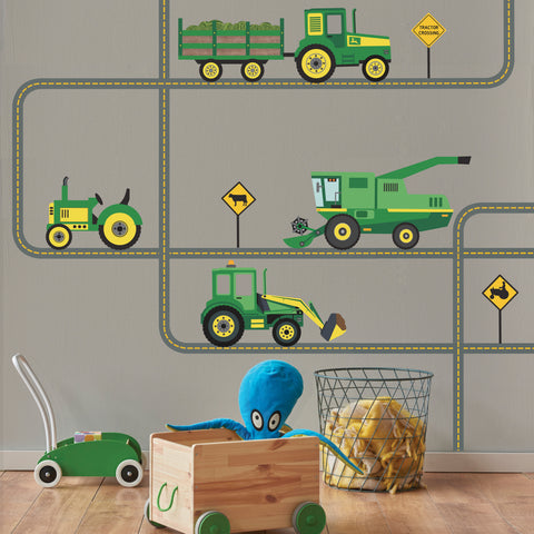 Green Tractors and Farm Truck Vehicles plus Straight and Curved Road, Tractor Wall Stickers Eco-friendly Wall Stickers