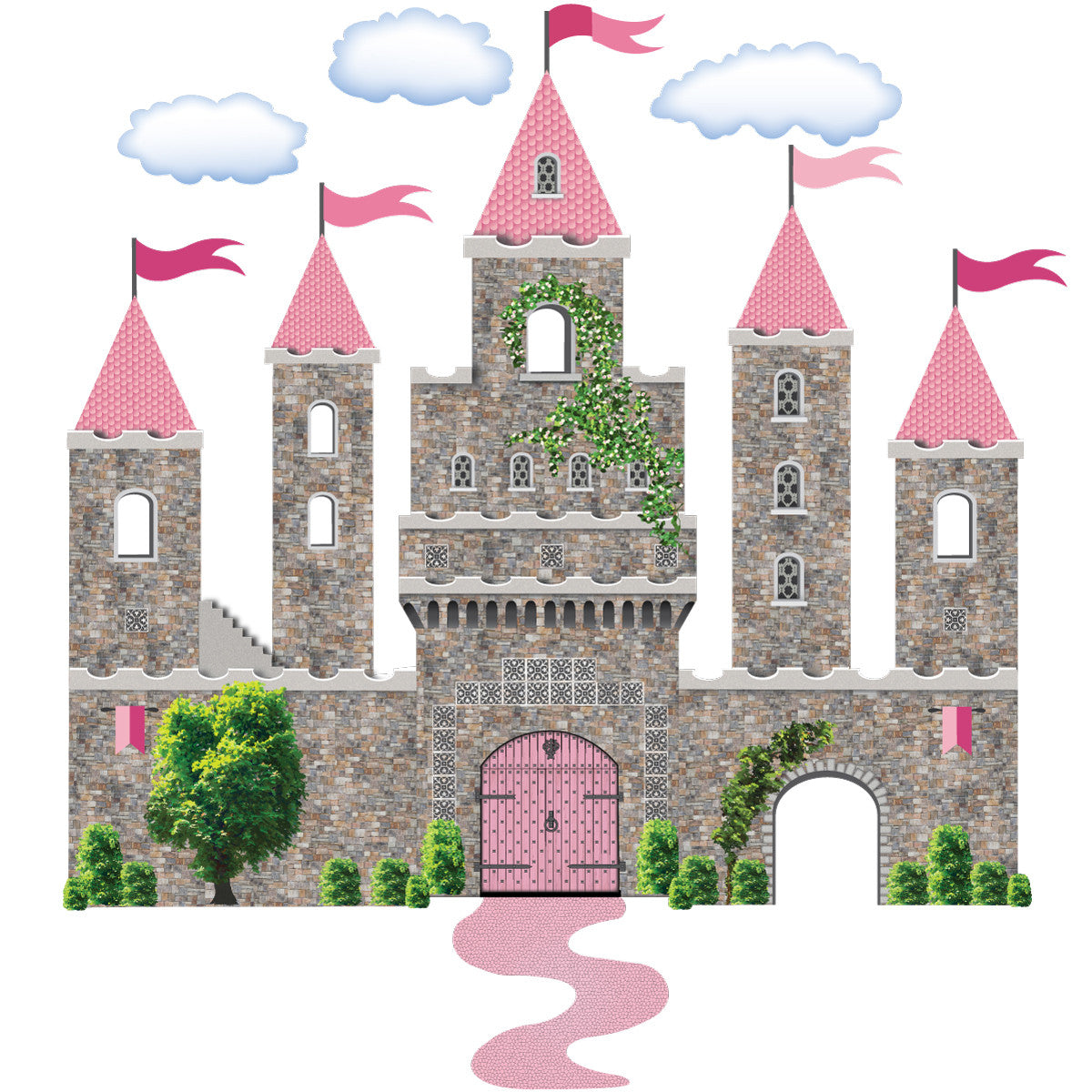 Pink Fairytale Princess Stone Castle Wall Decals With Turrets And Flags