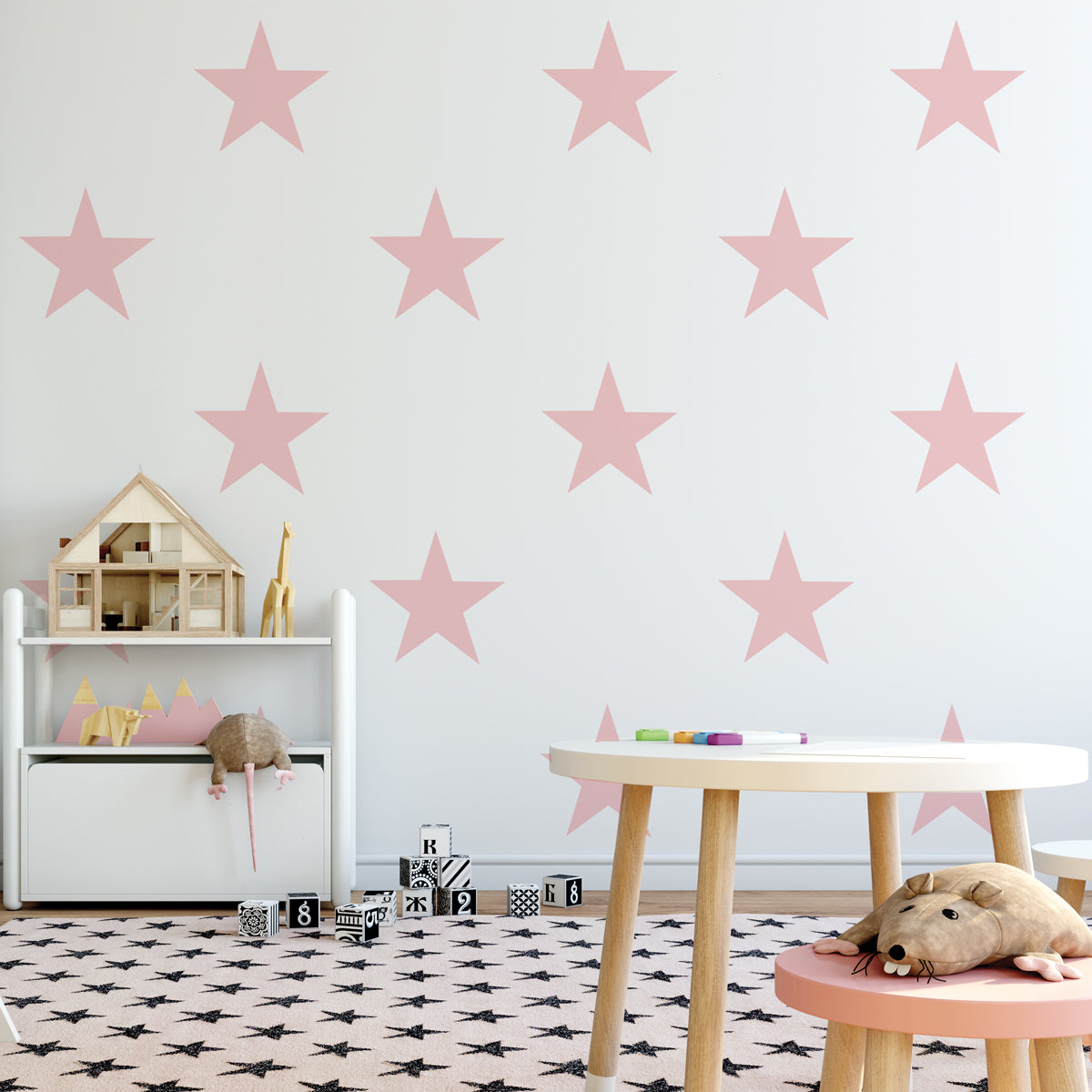 12 Large Star Wall Decals, 9 Inch, Millennial Pink, Navy Black Or White  Removable Reusable Eco Friendly Matte Fabric Wall Stickers
