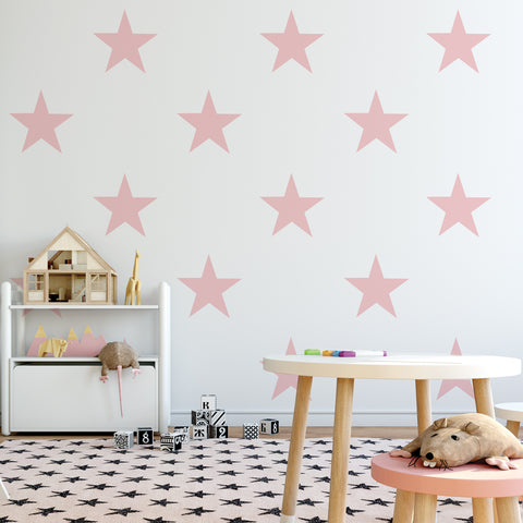 12 Large Millennial Pink Star Wall Decals, 9 inch Removable Repositionable Reusable Eco-Friendly Matte Fabric Wall Stickers