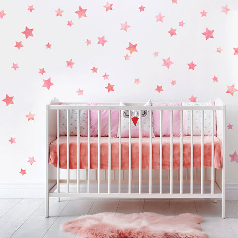 Multisized Watercolor Pink Star Wall Decals, Nursery Wall Decor, Star Wall Stickers, Eco Friendly Fabric Wall Decals