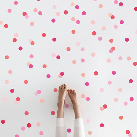 "Mini 2"" Millennial Pink Orange Polka Dot Wall Decals, Reusable Decals - Wall Dressed Up"