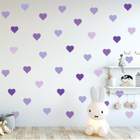 36 Purple Heart Wall Decals, Nursery Wall Decor, Removable and Reusable Fabric Heart Wall Stickers - Wall Dressed Up
