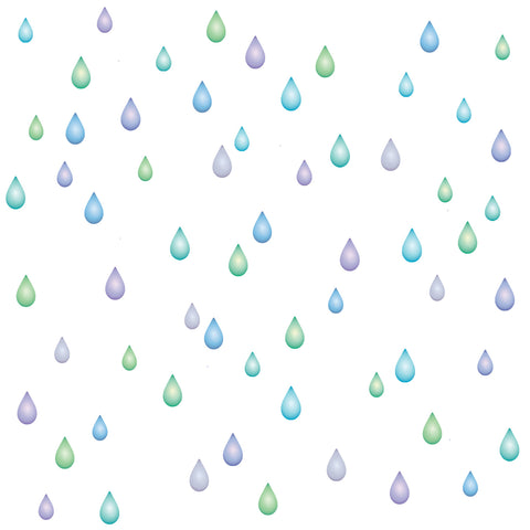 Raindrop Wall Decals, Lilac, Blue and Green, Eco Friendly Matte Wall Stickers - Wall Dressed Up