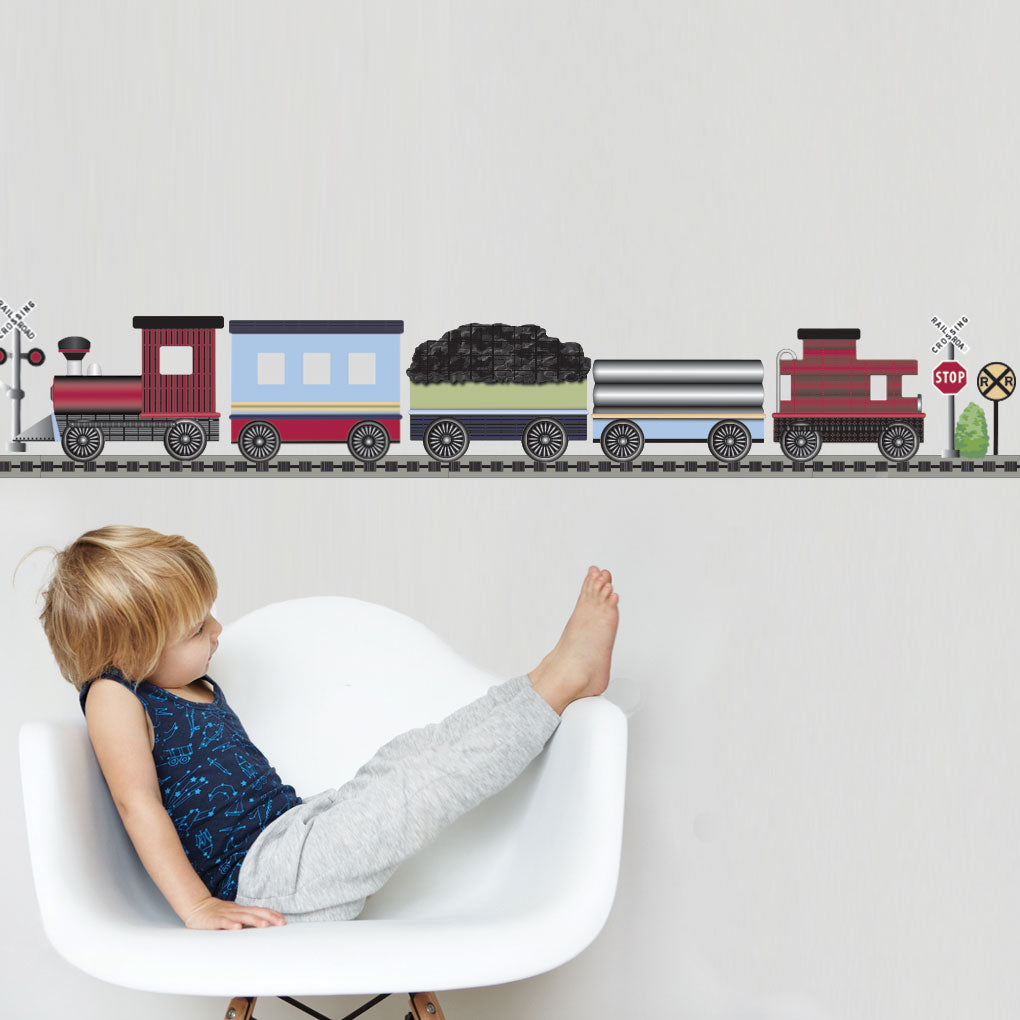 Red Caboose Freight Train Wall Decals With Straight RR Track (Left Facing)  Col.2