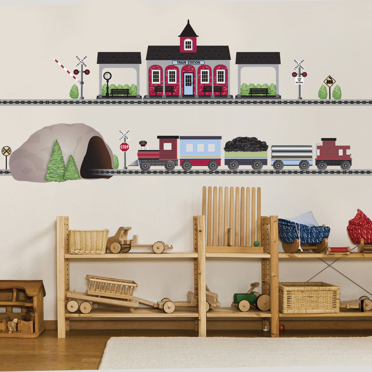Train Wall Decal, Red Freight With Train Station And Tunnel, 15 Ft Of  Straight RR Track, Eco Friendly Train Stickers, Col 2