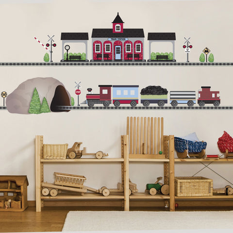 Train Wall Decal, Red Freight with Train Station and Tunnel, 15 ft of Straight RR Track, Eco-Friendly Train Stickers, Col 2 - Wall Dressed Up