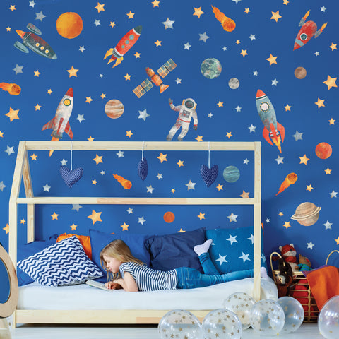 Spaceship Wall Decals, Outer Space Decals, Rocket Wall Stickers, Planet Wall Decals, Space Wall Stickers, Removable Eco Friendly Star Wall Decals