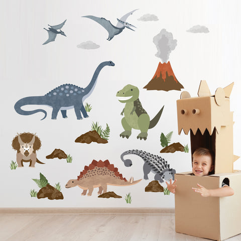 Dinosaur Wall Decals, T Rex Wall Sticker, Dino Decals, Kids decals, Reusable Dinosaur Wall Stickers - Wall Dressed Up