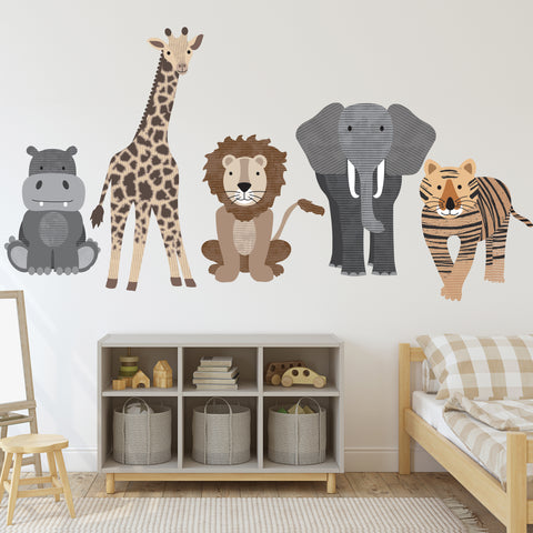 Large Safari Animal Wall Decals, Nursery Decals, Jungle Wall Stickers - Wall Dressed Up