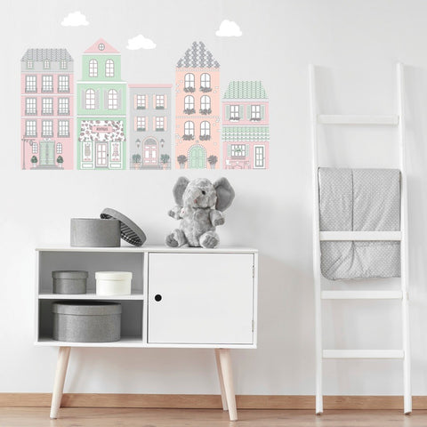 European Style Town Wall Decals, Girls Peel and Stick Wall Stickers, Eco Friendly Matte Town Decals - Wall Dressed Up