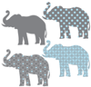 Eight Patterned Gray and Baby Blue Elephant Wall Decals - Wall Dressed Up - 3