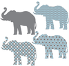 Eight Patterned Gray and Baby Blue Elephant Wall Decals - Wall Dressed Up - 4