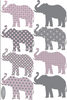 Eight Patterned Gray and Baby Pink Elephant Wall Decals - Wall Dressed Up - 2