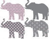 Eight Patterned Gray and Baby Pink Elephant Wall Decals - Wall Dressed Up - 3