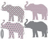 Eight Patterned Gray and Baby Pink Elephant Wall Decals - Wall Dressed Up - 4